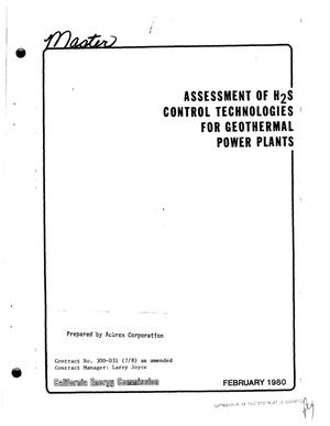Primary view of object titled 'Assessment of H/sub 2/S control technologies for geothermal power plants'.