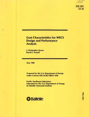 Primary view of object titled 'Gust characteristics for WECS design and performance analysis'.