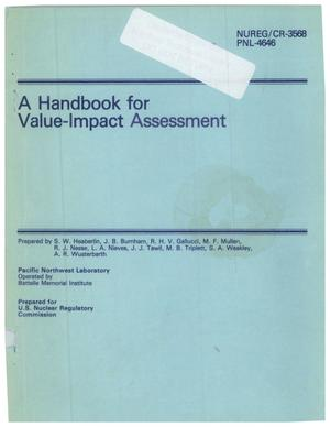 Primary view of object titled 'Handbook for value-impact assessment'.