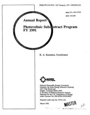 Primary view of object titled 'Photovoltaic Subcontract Program, FY 1991'.
