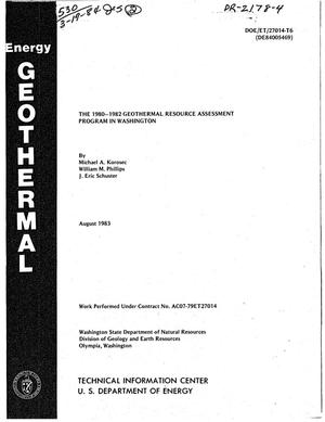 Primary view of object titled '1980-1982 Geothermal Resource Assessment Program in Washington'.