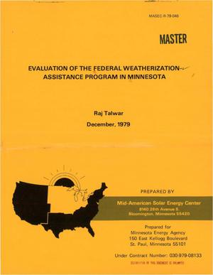 Primary view of object titled 'Evaluation of the Federal Weatherization-Assistance Program in Minnesota'.
