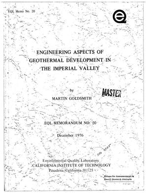 Primary view of object titled 'Engineering aspects of geothermal development in the Imperial Valley'.