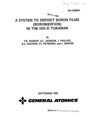 Primary view of object titled 'A system to deposit boron films (boronization) in the DIII-D tokamak'.