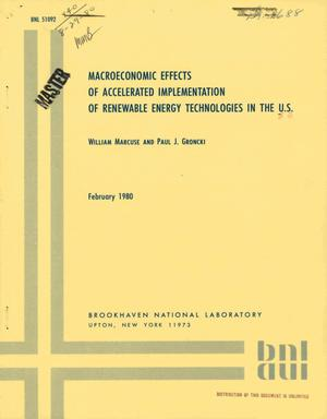 Primary view of object titled 'Macroeconomic effects of accelerated implementation of renewable energy technologies in the US'.