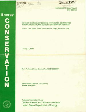 Primary view of object titled 'District heating and cooling systems for communities through power plant retrofit distribution network. Phase 2. Final report, 1 March 1980-31 January 1984. Volume VII. Appendix C'.