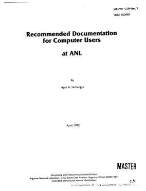 Primary view of object titled 'Recommended documentation for computer users at ANL'.