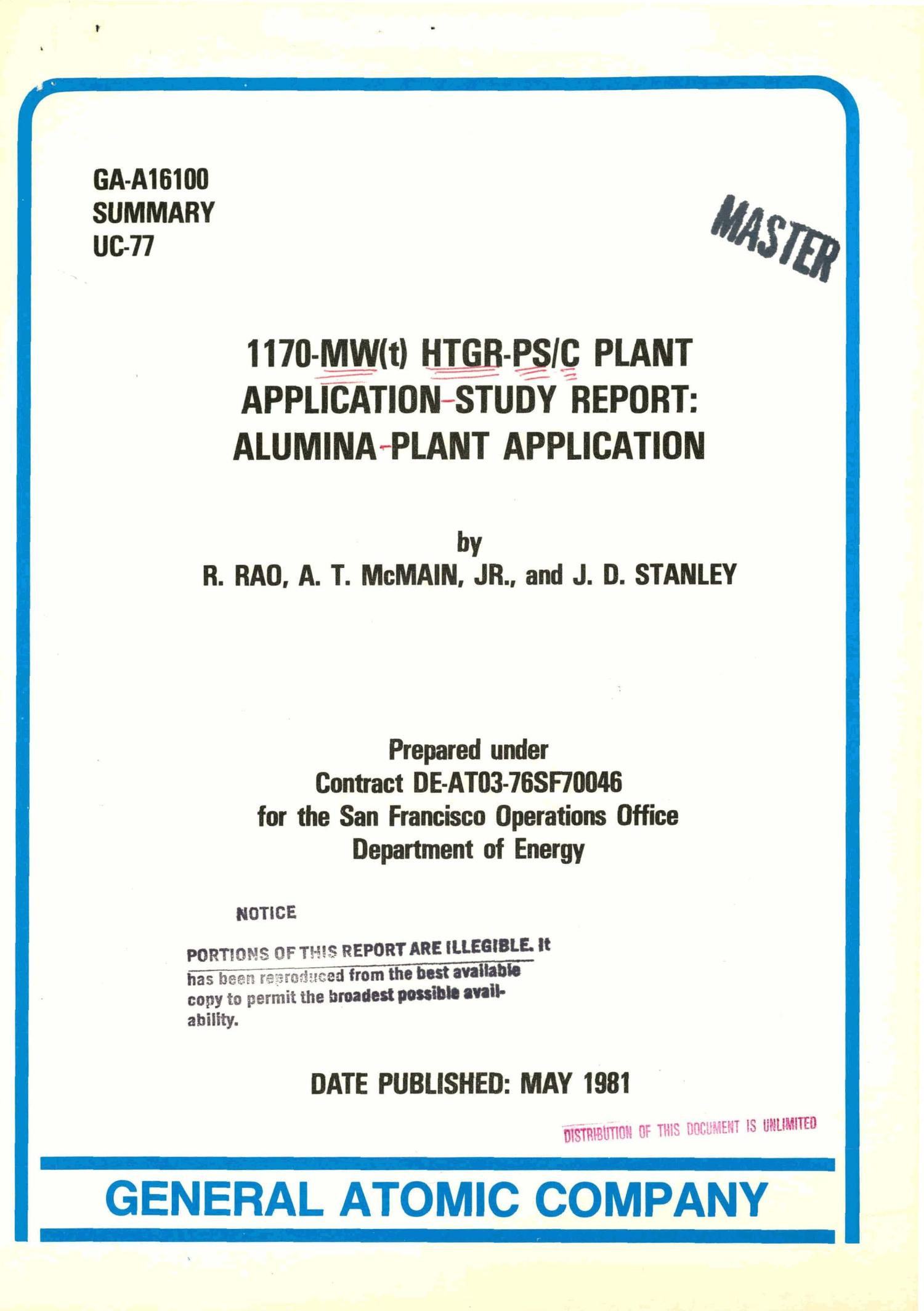 1170-MW(t) HTGR-PS/C plant application-study report: alumina-plant application                                                                                                      [Sequence #]: 1 of 15