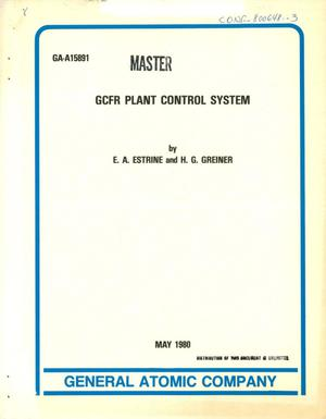 Primary view of object titled 'GCFR plant control system'.
