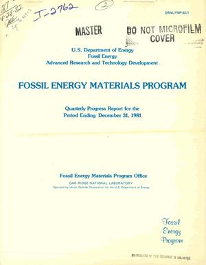 Primary view of object titled 'AR and TD Fossil Energy Materials Program. Quarterly progress report for the period ending December 31, 1981'.