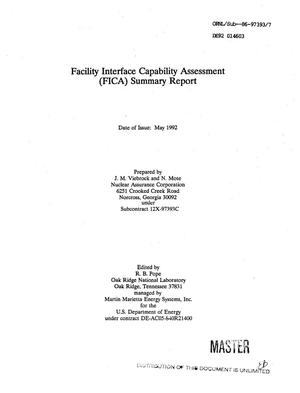 Primary view of object titled 'Facility Interface Capability Assessment (FICA) summary report'.