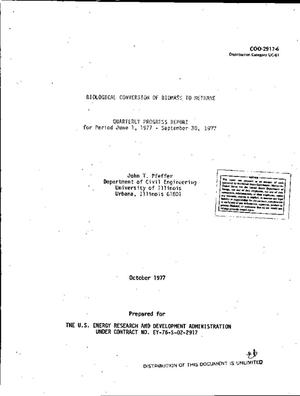 Primary view of object titled 'Biological conversion of biomass to methane. Quarterly progress report, June 1--September 30, 1977'.