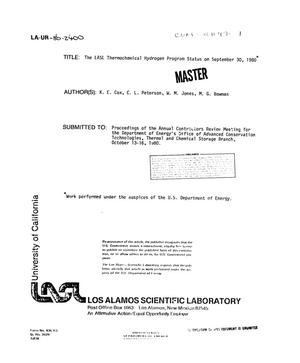 Primary view of object titled 'LASL thermochemical hydrogen program status on September 30, 1980'.