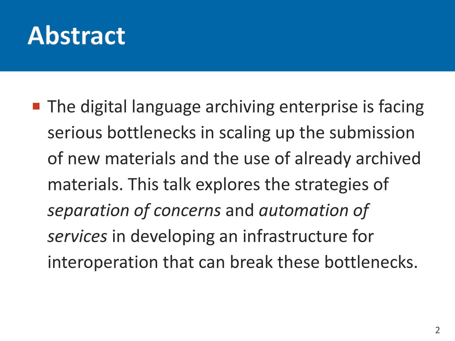 Developing infrastructure for interoperating digital language archives                                                                                                      2