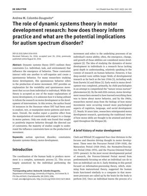 Primary view of object titled 'The Role of Dynamic Systems Theory in Motor Development Research: How Does Theory Inform Practice and What Are the Potential Implications for Autism Spectrum Disorder?'.