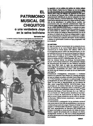 El Patrimonio Musical de Chiquitos: o una verdadera Joya en la selva boliviana