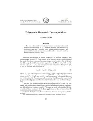 Polynomial Harmonic Decompositions