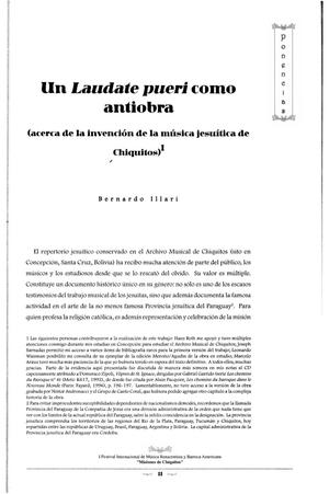 Un Laudate pueri como antiobra (acerca de la invención de la música jesuítica de Chiquitos)