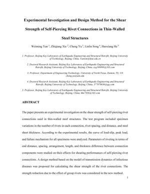 Experimental Investigation and Design Method for the Shear Strength of Self-Piercing Rivet Connections in Thin-Walled Steel Structures