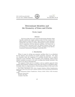 Determinant Identities and the Geometry of Lines and Circles