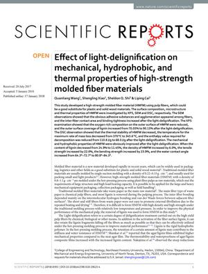 Effect of light-delignification on mechanical, hydrophobic, and thermal properties of high-strength molded fiber materials