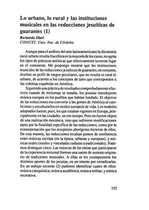 Lo urbano, lo rural y las instituciones musicales en las reducciones jesuíticas de guaraníes