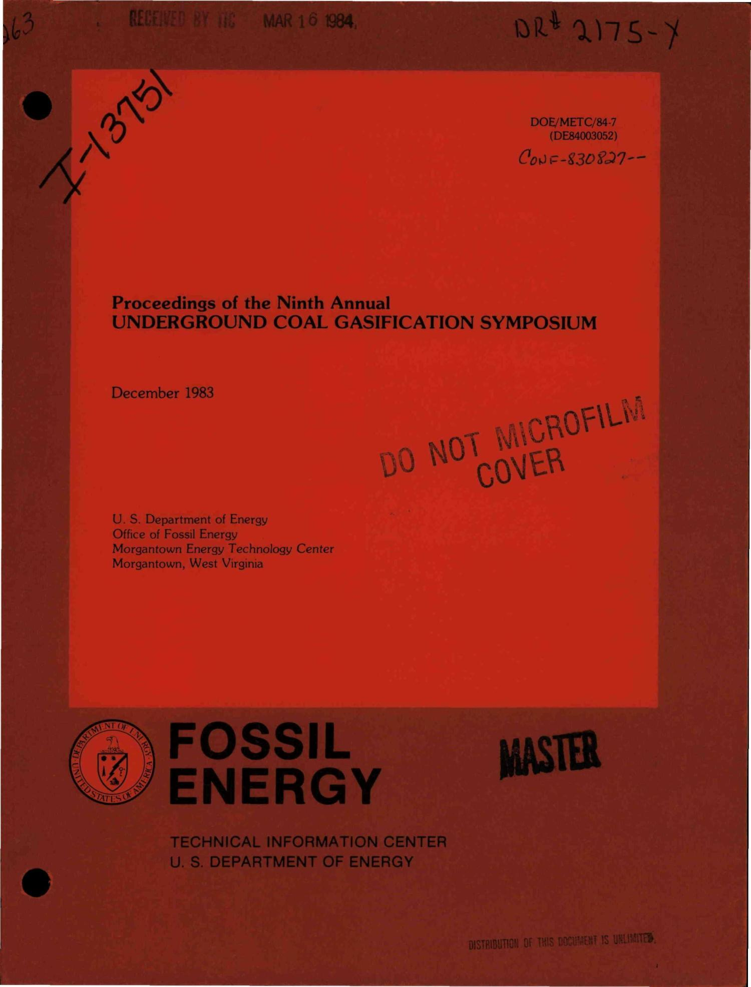 Proceedings of the ninth annual underground coal gasification symposium                                                                                                      [Sequence #]: 1 of 586