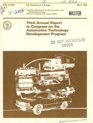 Primary view of Third annual report to Congress on the automotive technology development program