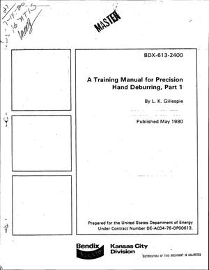 Primary view of object titled 'Training manual for precision hand deburring, Part 1'.