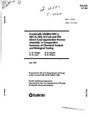 Primary view of object titled 'Fractionally distilled SRC-I, SRC-II, EDS, H-Coal and ITSL direct coal liquefaction process materials: a comparative summary of chemical analysis and biological testing'.