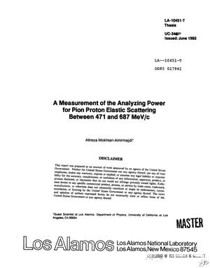 Primary view of object titled 'Measurement of the analyzing power for pion proton elastic scattering between 471 and 687 MeV/c'.