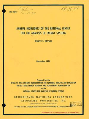 Primary view of object titled 'Annual highlights of the National Center for the Analysis of Energy Systems'.