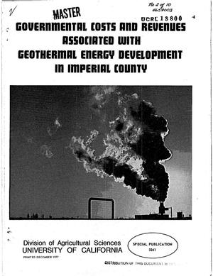 Primary view of object titled 'Governmental costs and revenues associated with geothermal energy development in Imperial County. Special Publication 3241'.