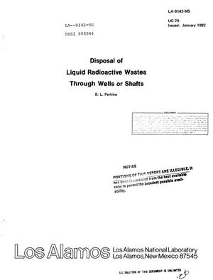 Primary view of object titled 'Disposal of liquid radioactive wastes through wells or shafts'.