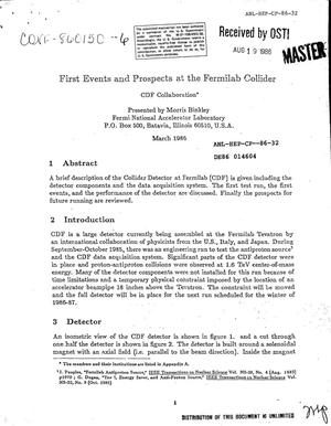 Primary view of object titled 'First events and prospects at the Fermilab collider'.