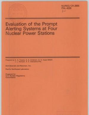 Primary view of object titled 'Evaluation of the prompt alerting systems at four nuclear power stations'.