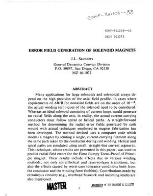 Primary view of object titled 'Error field generation of solenoid magnets'.