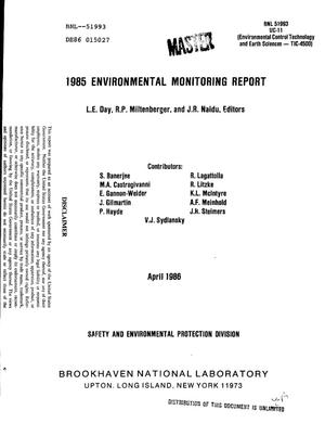 Primary view of object titled '1985 environmental monitoring report'.