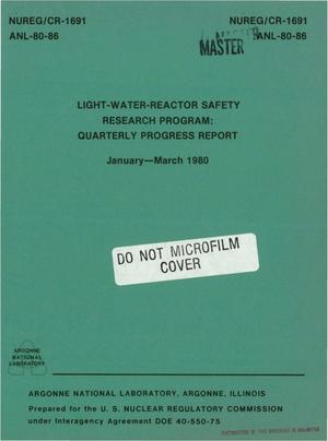Primary view of object titled 'Light-water-reactor safety research program. Quarterly progress report, January-March 1980'.