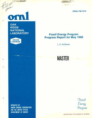 Primary view of object titled 'Fossil energy program. Progress report for May 1980'.