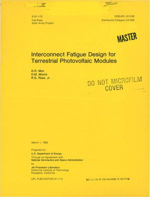 Primary view of object titled 'Interconnect fatigue design for terrestrial photovoltaic modules'.