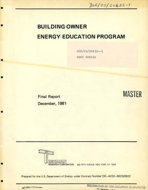 Primary view of object titled 'Building-owners energy-education program. Final report'.