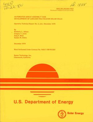 Primary view of object titled 'Automated array assembly task development of low-cost polysilicon solar cells. Quarterly technical report No. 2'.