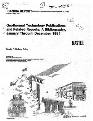 Primary view of object titled 'Geothermal technology publications and related reports: a bibliography, January-December 1981'.