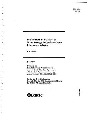 Primary view of object titled 'Preliminary evaluation of wind energy potential: Cook Inlet area, Alaska'.