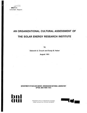 Primary view of object titled 'Organizational Cultural Assessment of the Solar Energy Research Institute'.