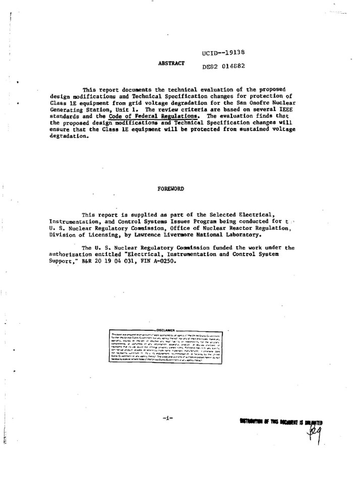 Technical evaluation report on the proposed design