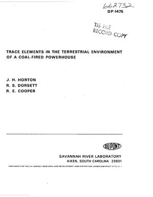 Primary view of object titled 'Trace elements in the terrestrial environment of a coal-fired powerhouse'.