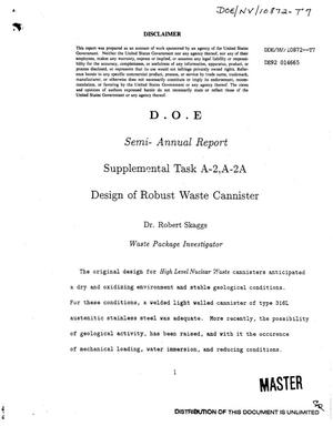 Primary view of object titled 'Supplemental Task A-2,A-2A, Design of robust waste cannister'.
