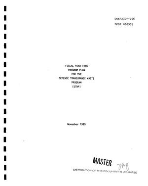 Primary view of object titled 'Fiscal year 1986 program plan for the Defense Transuranic Waste Program (DTWP)'.